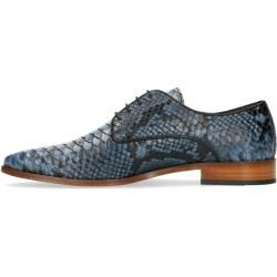 Photo of Blue leather lace-up shoes with animal print (40,41,42,43,44,45,46) Black Label