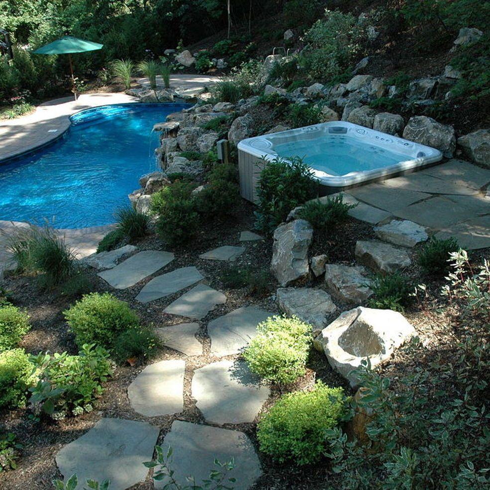 Integrating A Portable Spa Into A Backyard Oasis Backyard Pool Landscaping Portable Spa Backyard