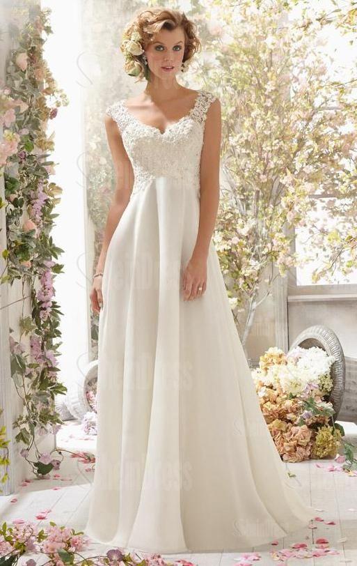 Unforgettable Vintage Wedding Dresses For More Elegant Look Chiffon Gaun Pengantin Ruffles