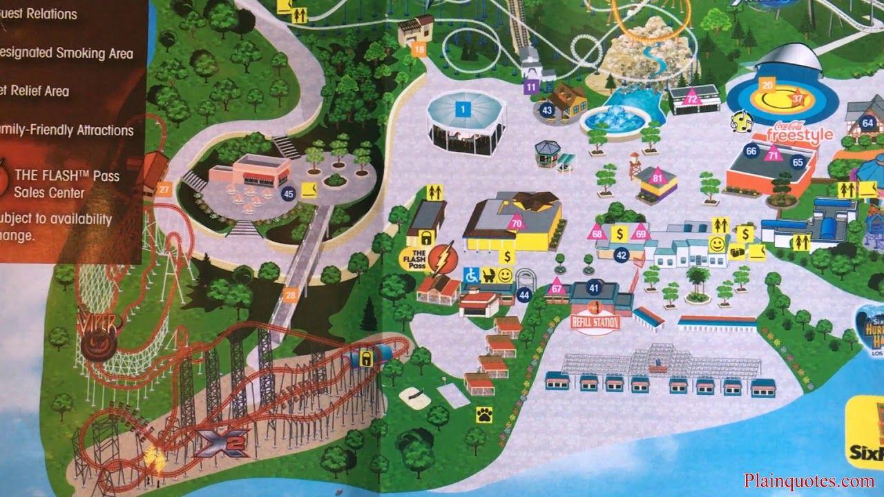 2019 Six Flags Magic Mountain Theme Park Map Los Angeles Ca Valencia Theme Park Map Theme Park Six Flags
