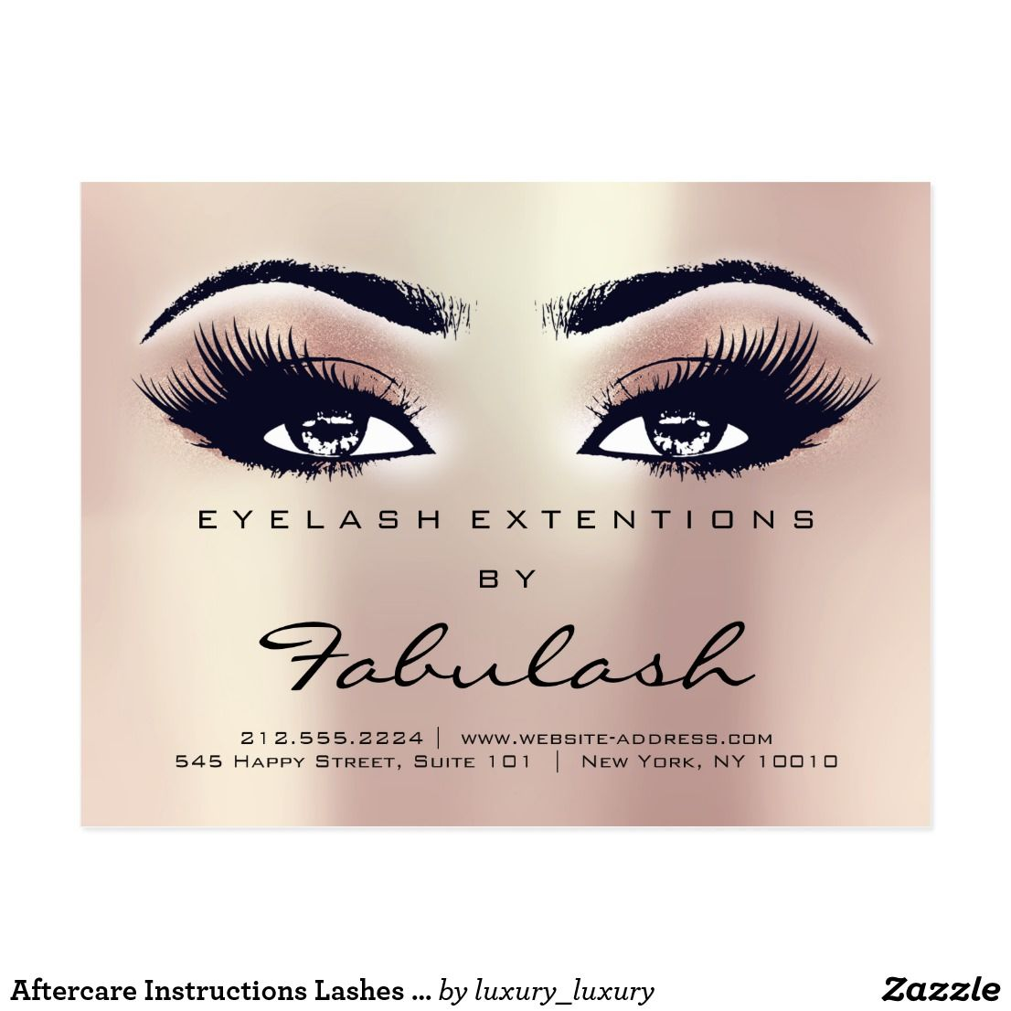 Aftercare Instructions Lashes Extension Rose Gold Postcard