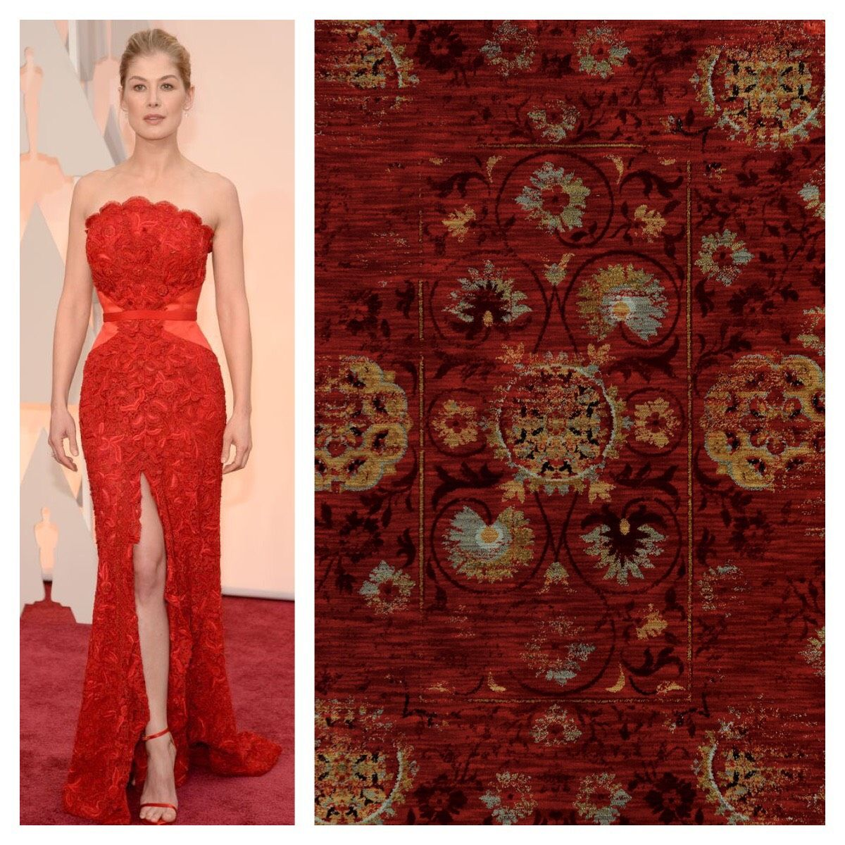 Sedona Rug From Oriental Weavers Rosmund Pike In Givenchy Strapless Dress Formal Formal Dresses Fashion