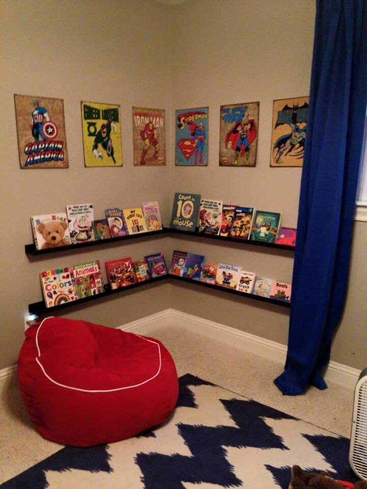Superhero reading corner boys room pinterest for Superhero bedroom ideas