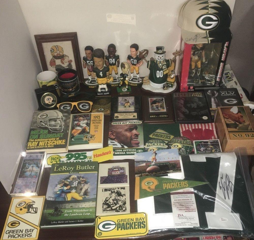 Green Bay Packers Signed Jersey Cap Bobblehead Memorabilia