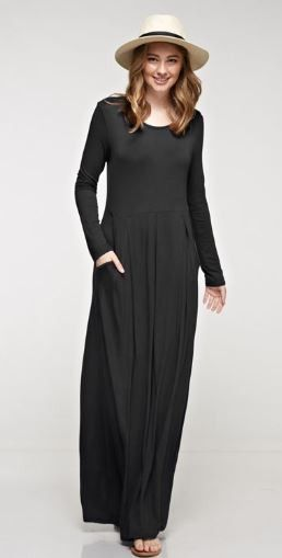 Solid Maxi Dress with Long Sleeves, Elasticized Waist and Pockets - 5 Colors