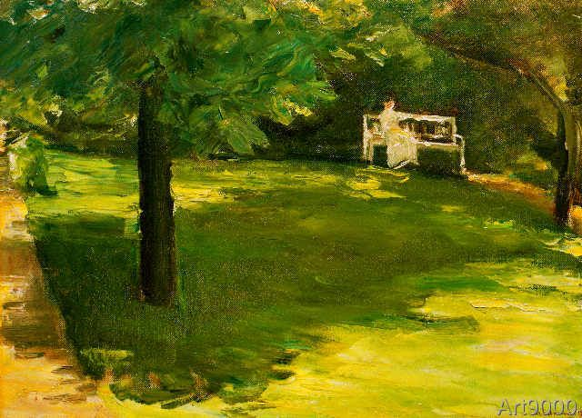 Max Liebermann - Gartenbank unter dem Kastanienbaum im Wannseegarten