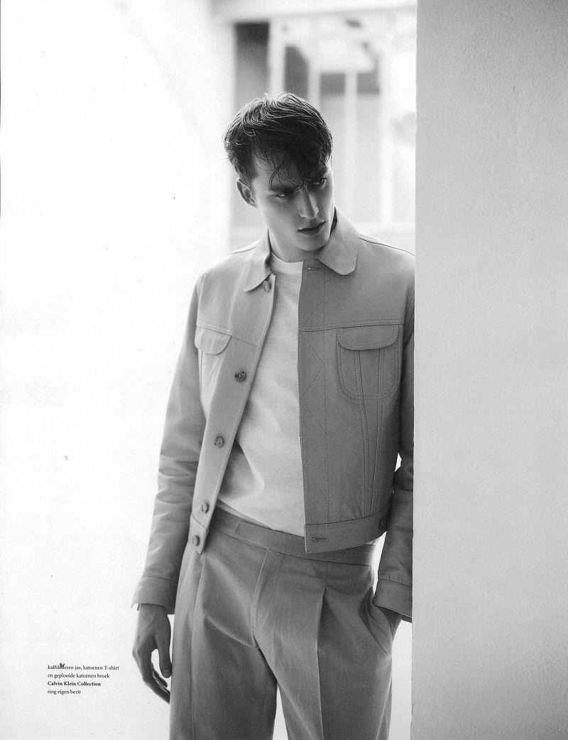 Bastiaan Van Gaalen Graces the Pages of LOfficiel Hommes NL in Calvin Klein Collection