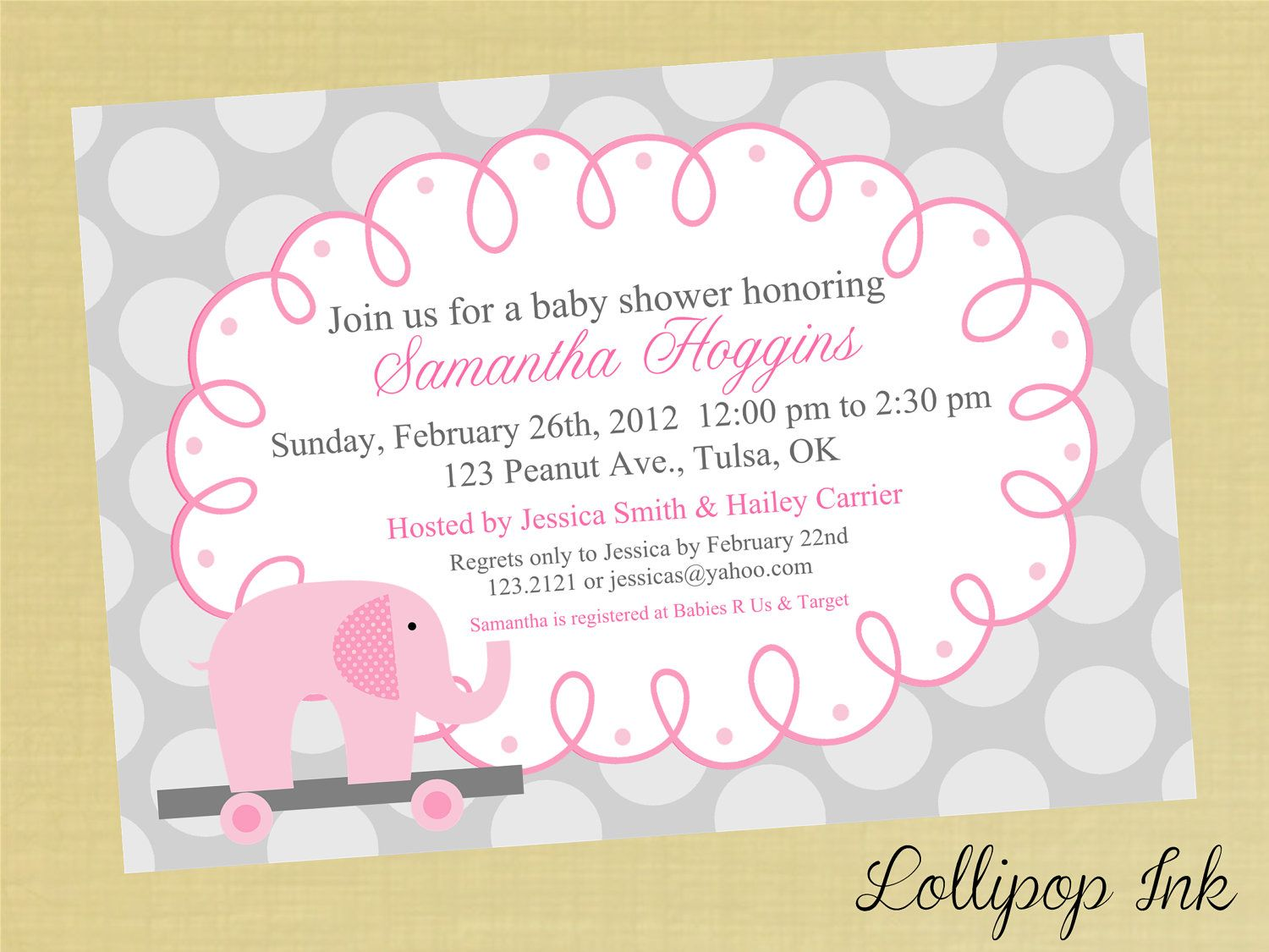 Pink ELEPHANT Baby Shower Printable Invitation, Personalized Pink ...
