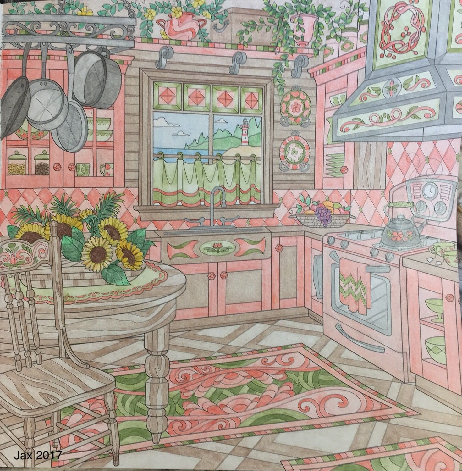 Come Home To Color Debbie Macomber Kitchen Scene Completed Adult Coloring Book Page By Colorist