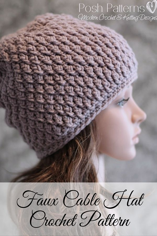 Crochet PATTERN - Cable Crochet Slouchy Hat Pattern | Gorros ...
