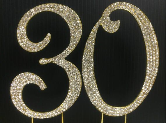 Gold Rhinestone NUMBER (30) Cake Topper 30th Birthday Parties #20thanniversarywedding