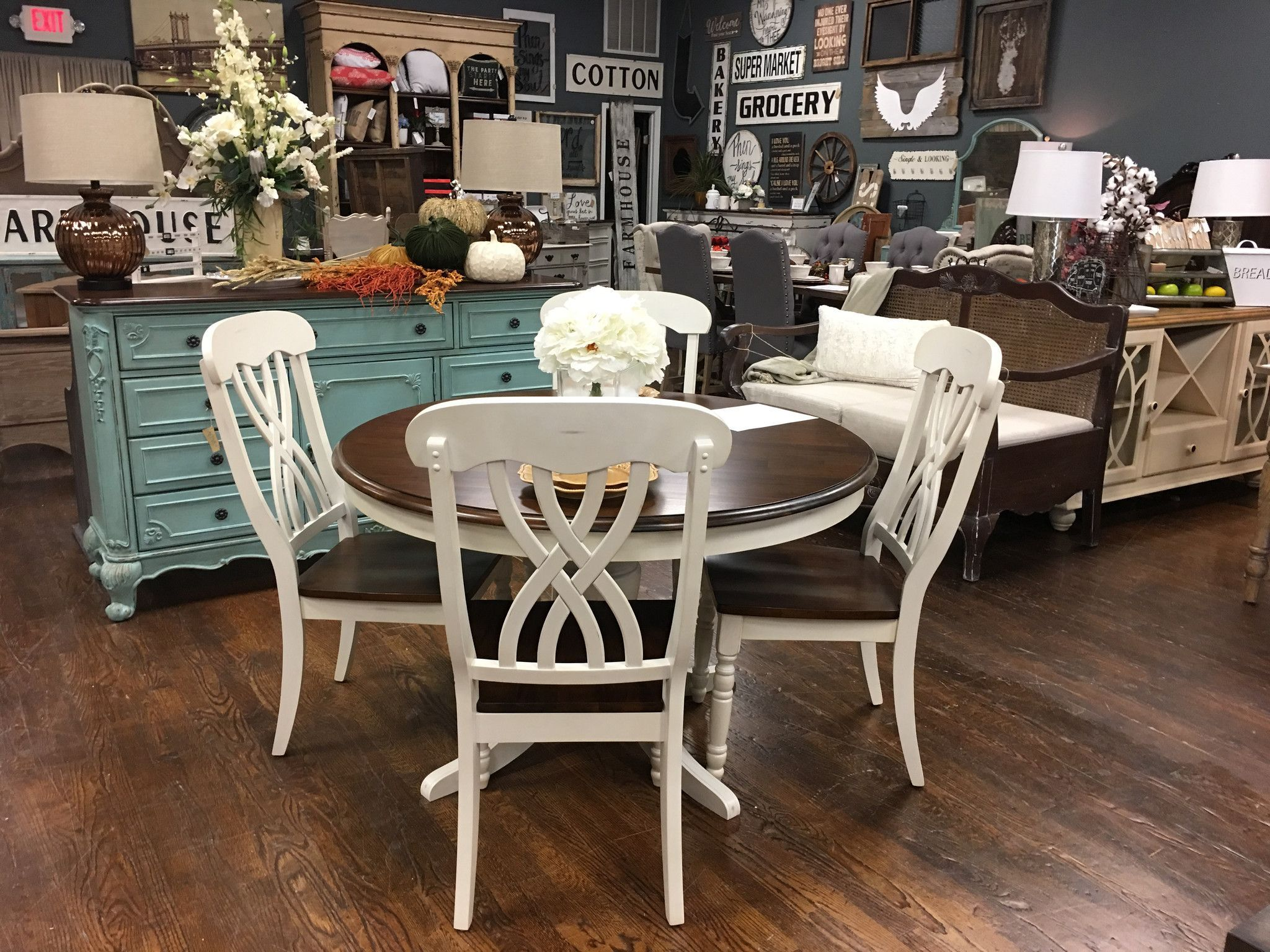 """This Round Farmhouse Dining Table measures 47.5"""" Round"""