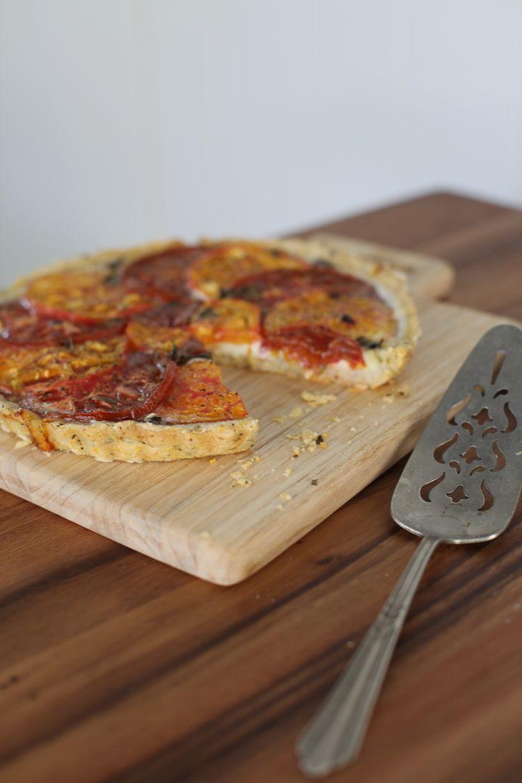 Tomato Tart with Cornmeal Basil Crust by Wit & Aroma