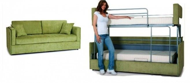 Coupe Sofa Turns Into Comfy Bunk Bed In Just 14 Seconds Storage Ideas Bunk Beds