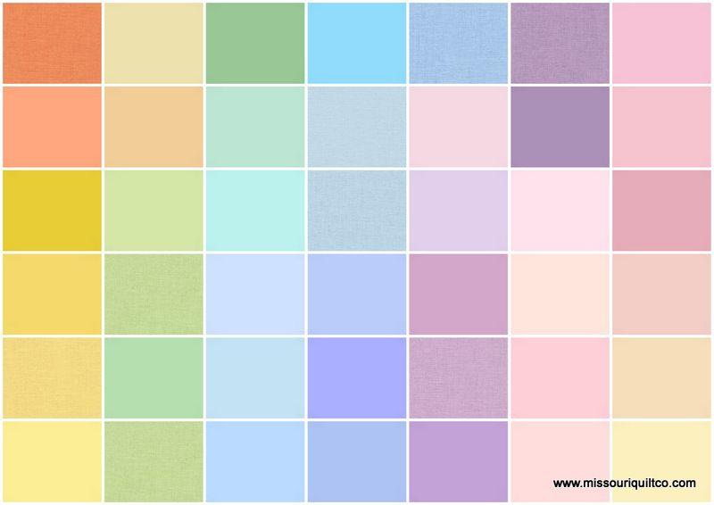 Kona solids new pastel palette charm pack robert kaufman fabrics robert kaufman fabric - Pastell wandfarben palette ...