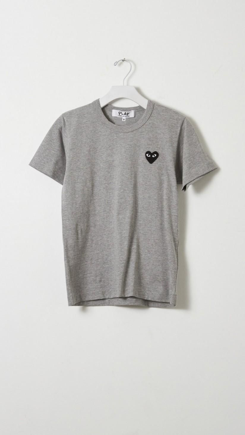 Play Comme Des Garcons Emblem Tee In Grey W Black Clothes Fashion Cdg Shirt