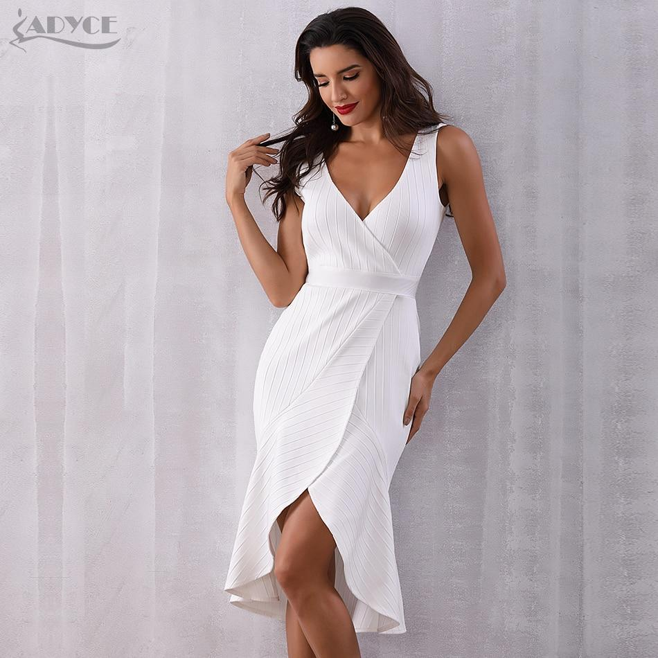 New White Sleeveless VNeck Midi Tank Dress - Sexy party outfits, Evening party dress, White knee length dress, Dresses, Sexy club dresses, Sexy summer outfits - MaterialPolyester,Spandex Thank you very much !