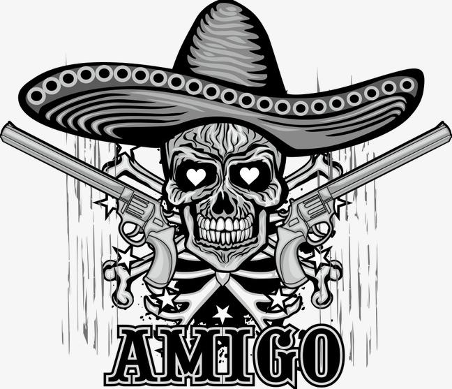 Mexican Sugar Skull With Sombrero Grunge Vintage Design T