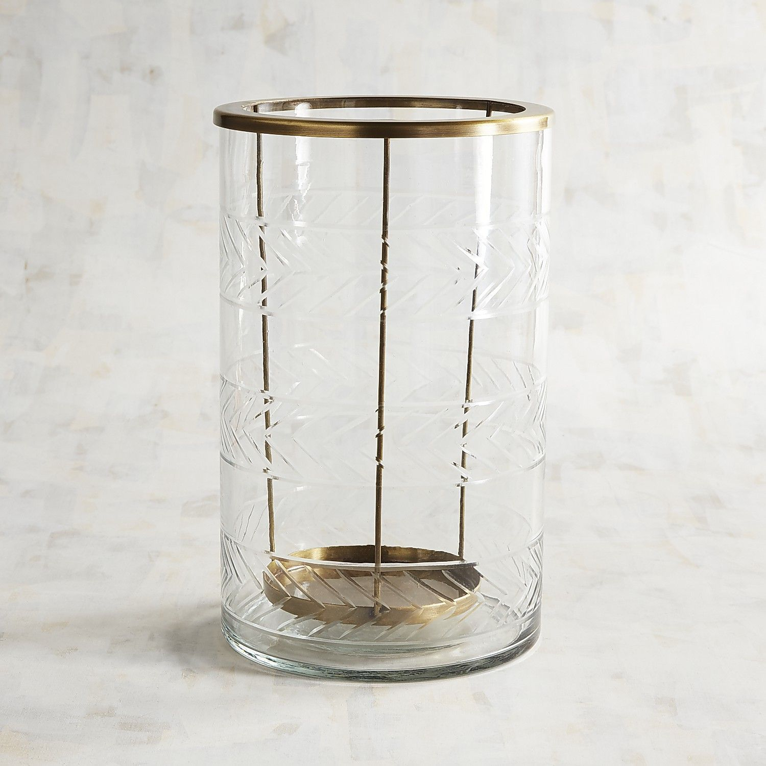 Large Etched Gl Hurricane Candle Holder