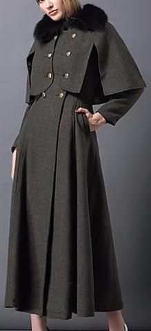 Double-Breasted Military-Style Fur-Collar Long Cape-Coat