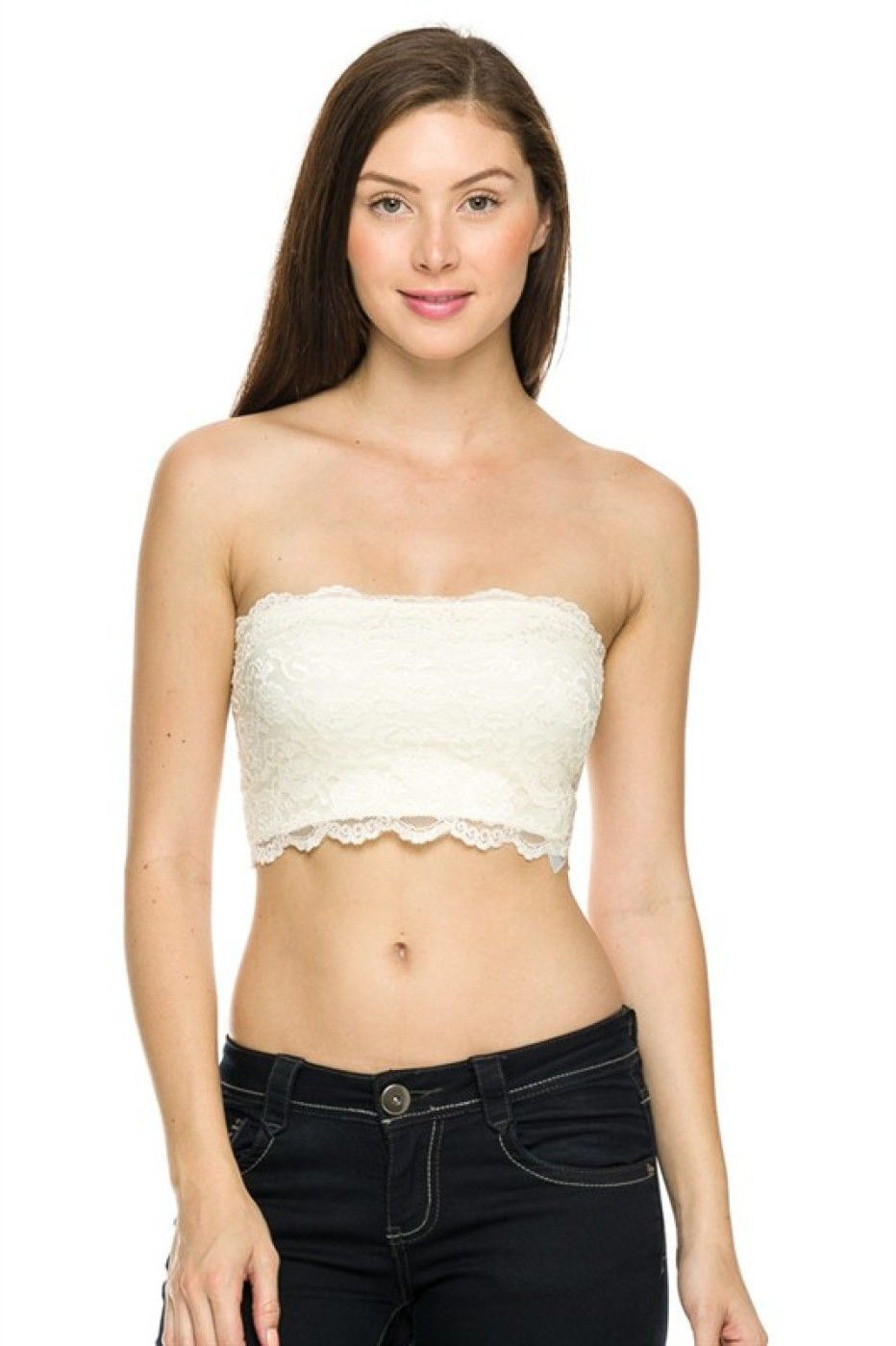 Strapless Lace Bandeau Bra Top | Lace, Bandeaus and Lace bandeau bra