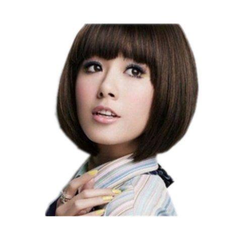 Surewells Nice Wigs Long Straight Light Brown Wigs Oblique: SureWells Nice Wigs Bobs Brown Short Straight Hair Wigs