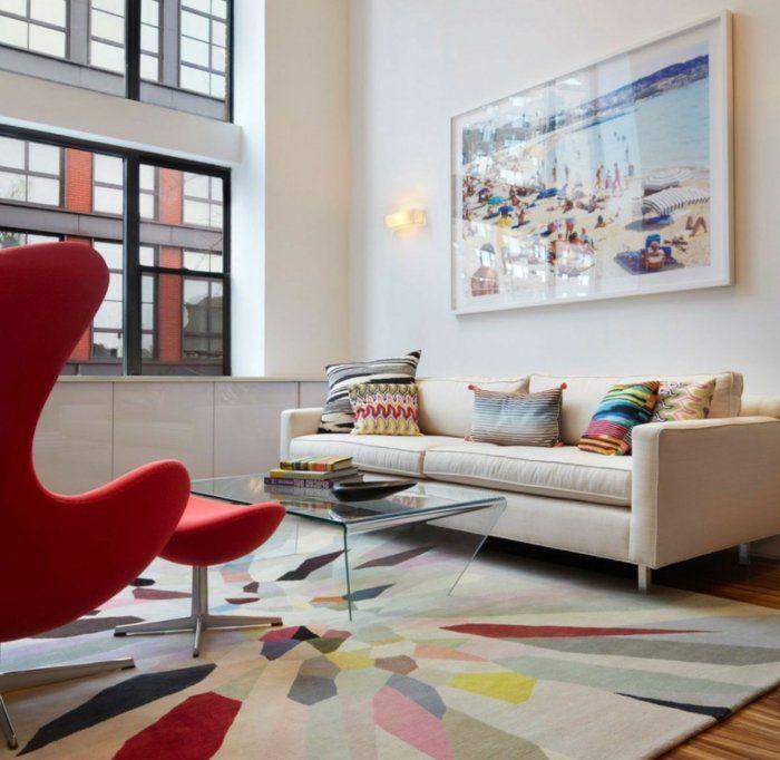 sessel rot farbiger teppich wohnzimmer einrichten glastisch ... - Bilder Wohnzimmer Rot