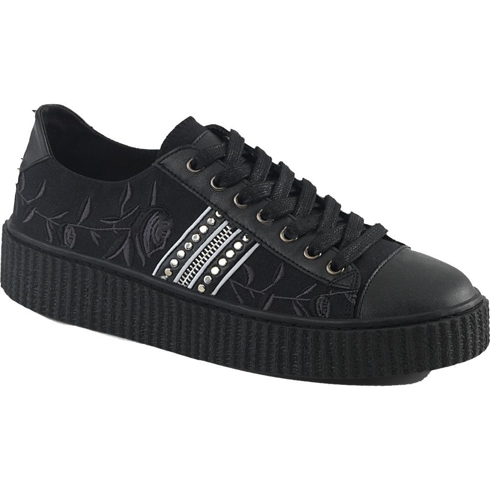 0f7d774a39c4 Inked Boutique - Unisex Demonia SNEEKER-106 Platform Low Top Creeper Sneaker  Black Goth Roses Studs - Find it at www.inkedboutique.com
