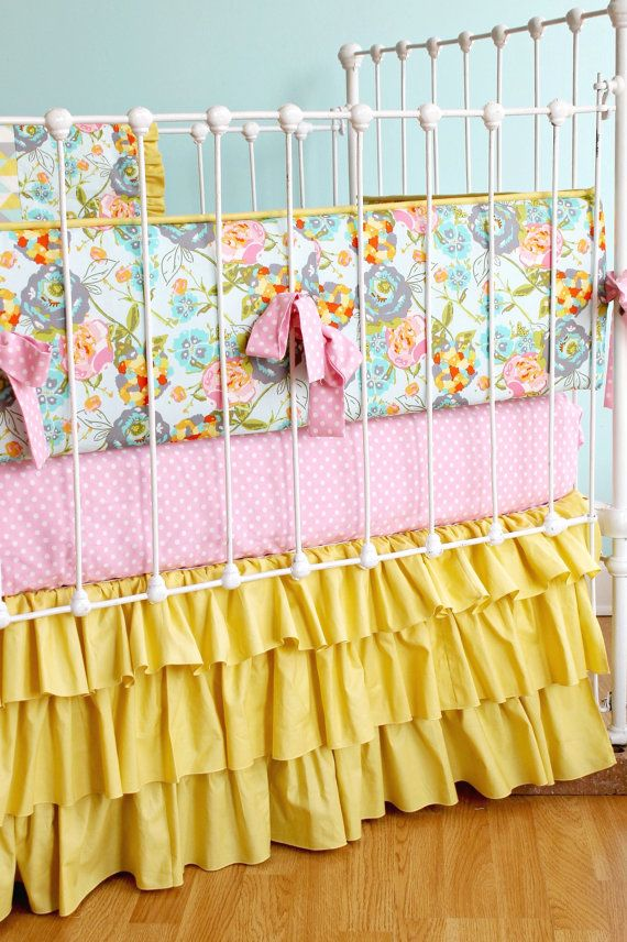 Fl Baby Bedding Mustard Yellow Pink