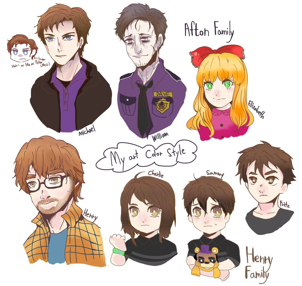 Afton Family Henry Family In 2020 Fnaf Characters Fnaf Drawings Anime Fnaf