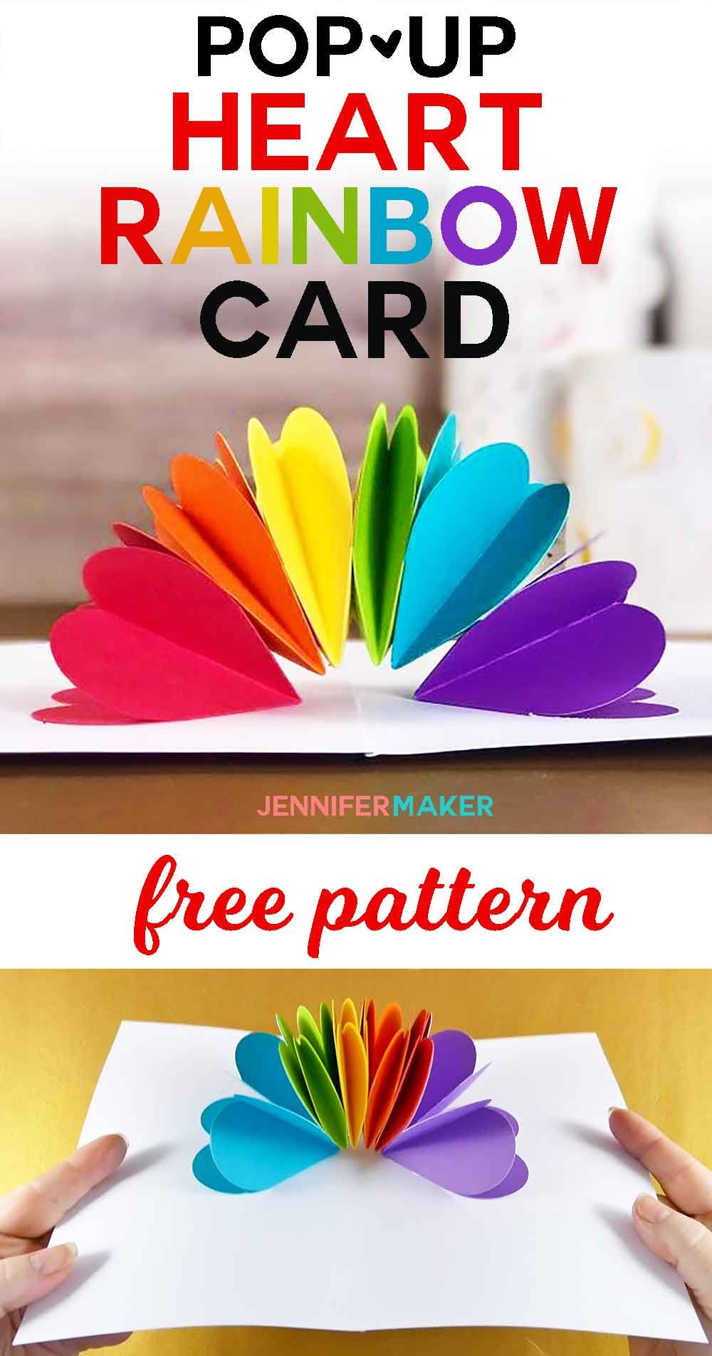 Make a popup heart rainbow card papercraft cricut and free pattern