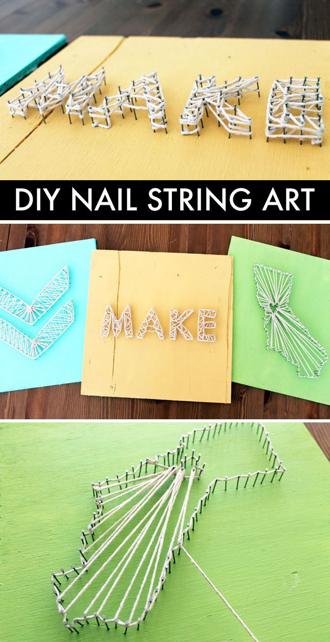 Diy basics nail string art heminredning och inspiration for Diy nail and string art