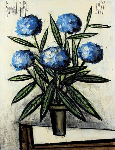 Hortensias Blues By Bernard Buffet 1971 Art Floral Peinture