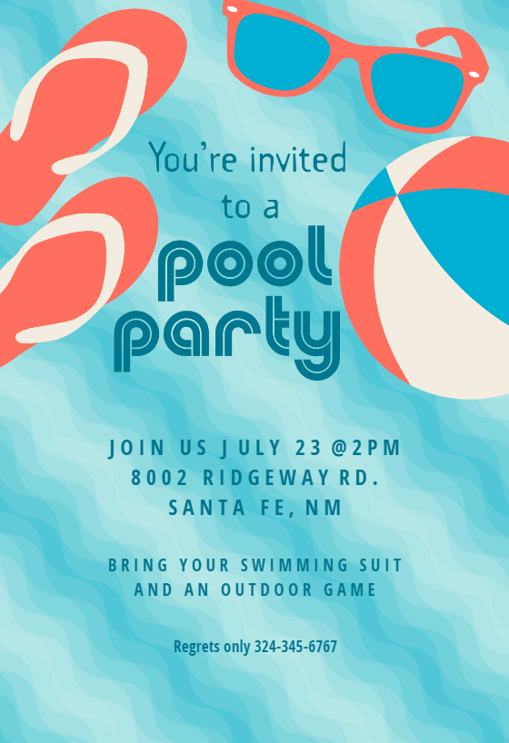 pool party stuff printable invitation customize add text and