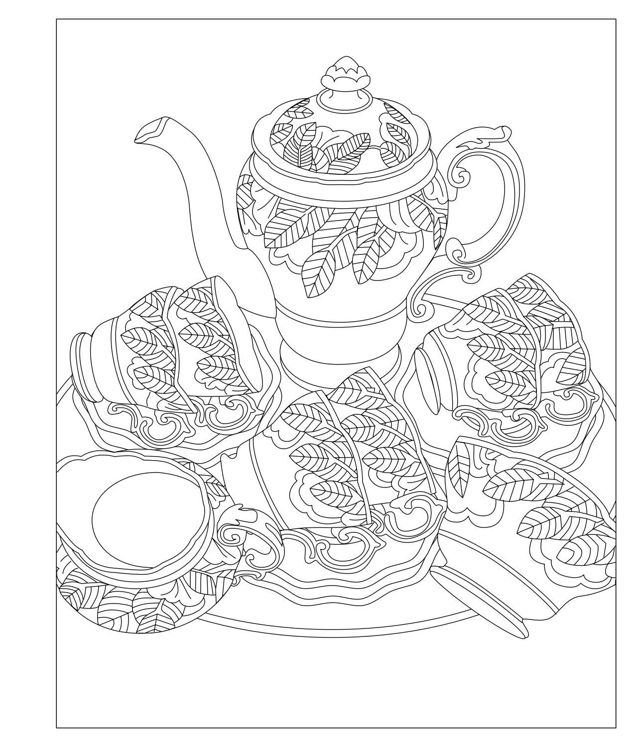 elegant tea party coloring book  coloring pages for grown