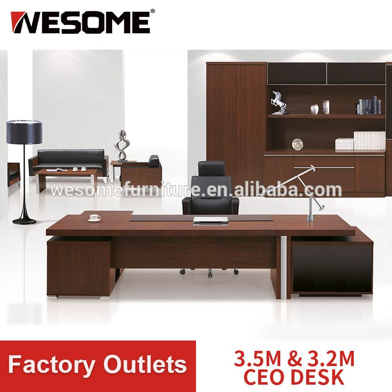 3 5m And 3 2m Executive Table And Ceo Desk With Fixed Side Table And Pedestal Modern Office Table Ceo Desk Desk