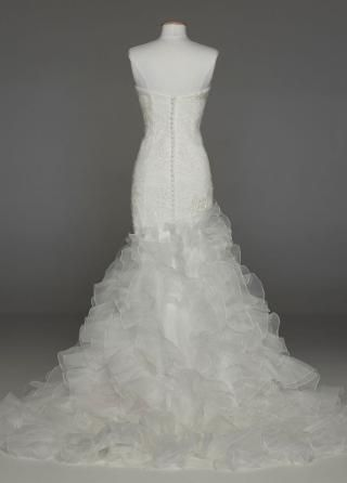 Wedding Gown with Lace Appliques and Ruffled Skirt - David's Bridal ...
