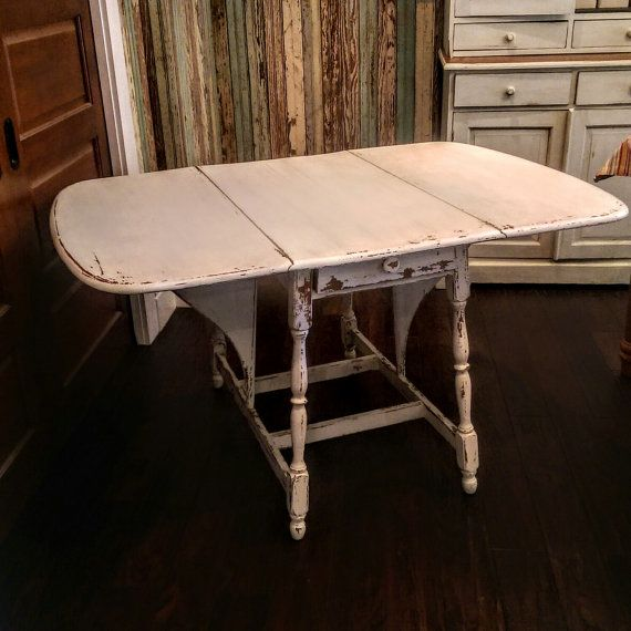 RESERVED/Vintage Drop Leaf Table/Painted And Distressed Drop Leaf Table/Chippy  White Painted Table/Drop Leaf Tablecwith Drawer