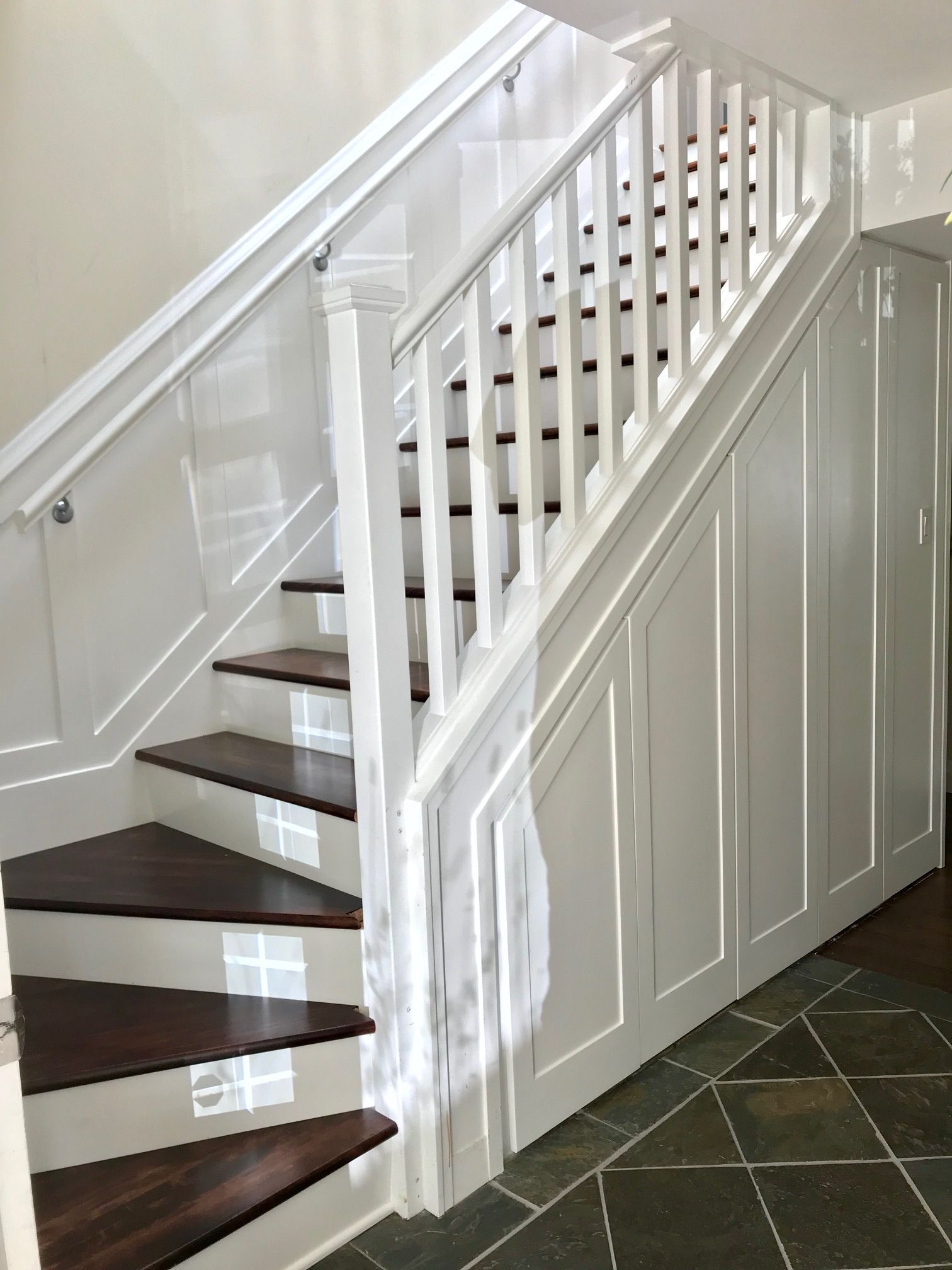 Stairs, Foyer, Storage, Wainscoting