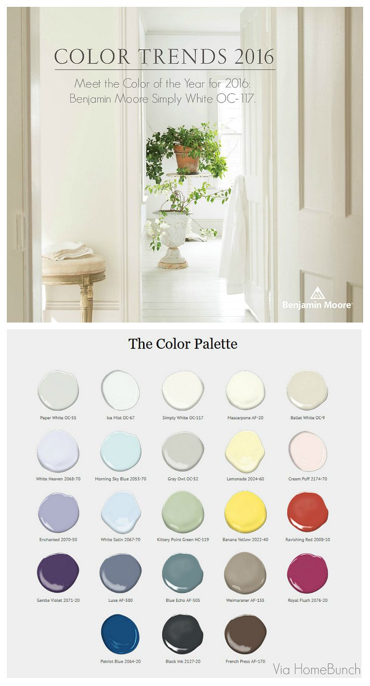 Benjamin Moore Color Of The Year 2016 Simply White Color Trends Interiors Home Bunch An Interior De Benjamin Moore Colors Color Trend 2016 Color Trends