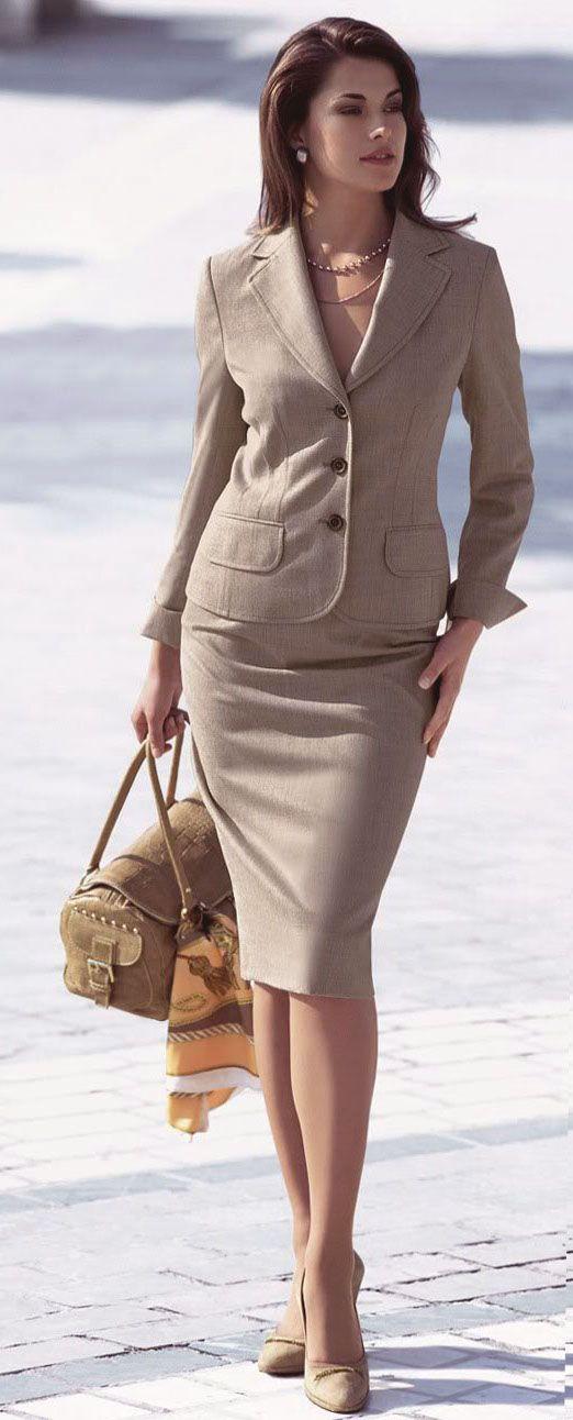 Pretty beige skirt suit | Office Style | Pinterest | Skirt suit ...