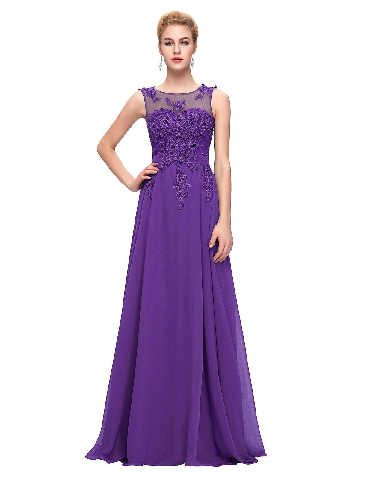 Adele cadbury purple lace chiffon applique beaded long maxi full