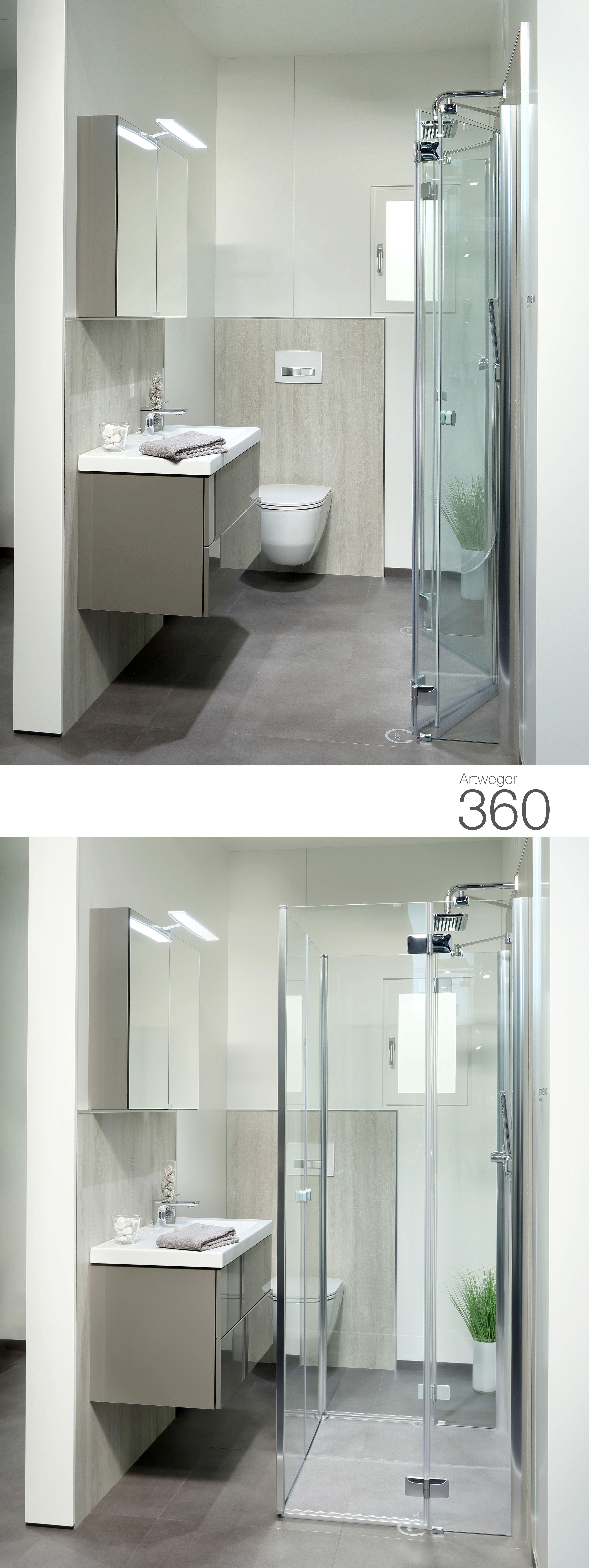 Wegklappbare Dusche für schmale Schlauchbäder möglich