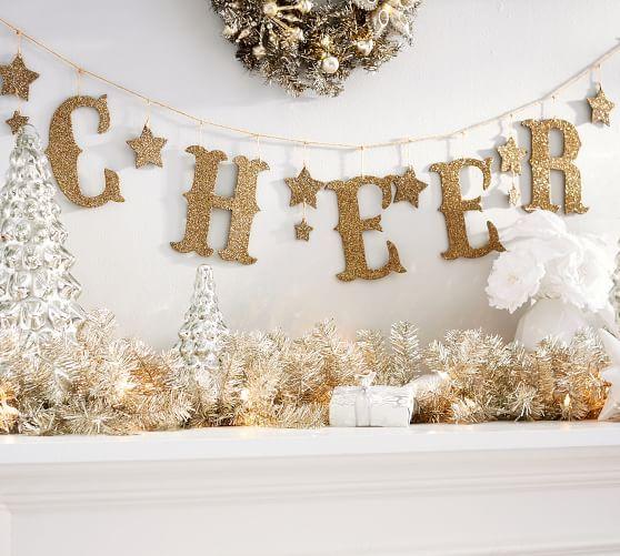 The Emily & Meritt Glitter Garland - Gold - Cheer | Emily ...