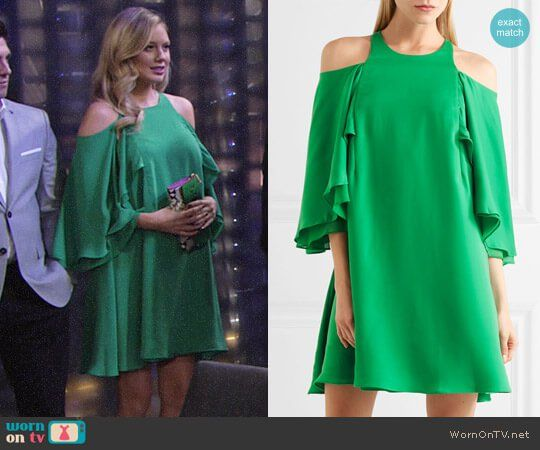 Halston Heritage Cold-shoulder Ruffled Twill Mini Dress