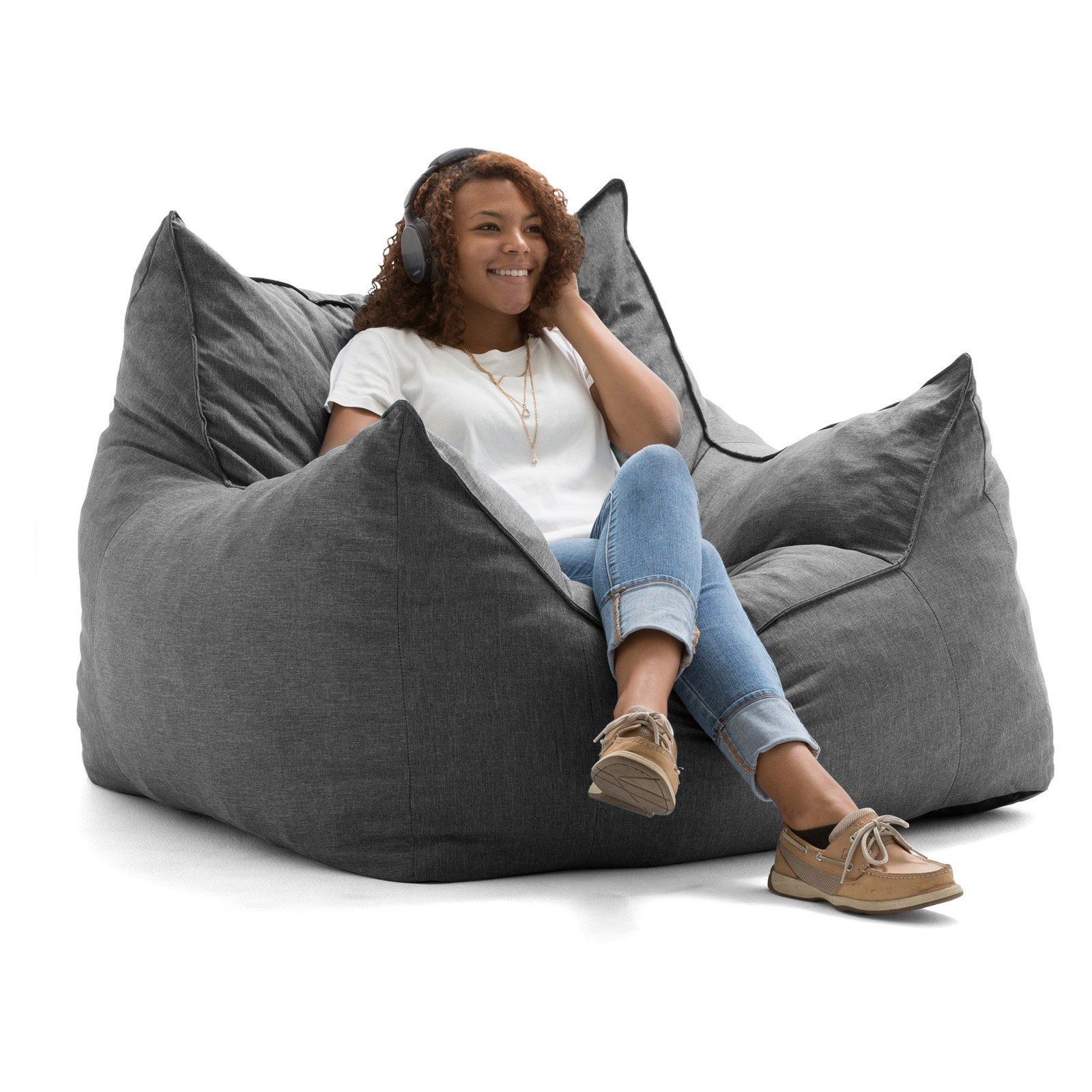 Cool Lux By Big Joe Imperial Lounger Union Bean Bag Gray Short Links Chair Design For Home Short Linksinfo