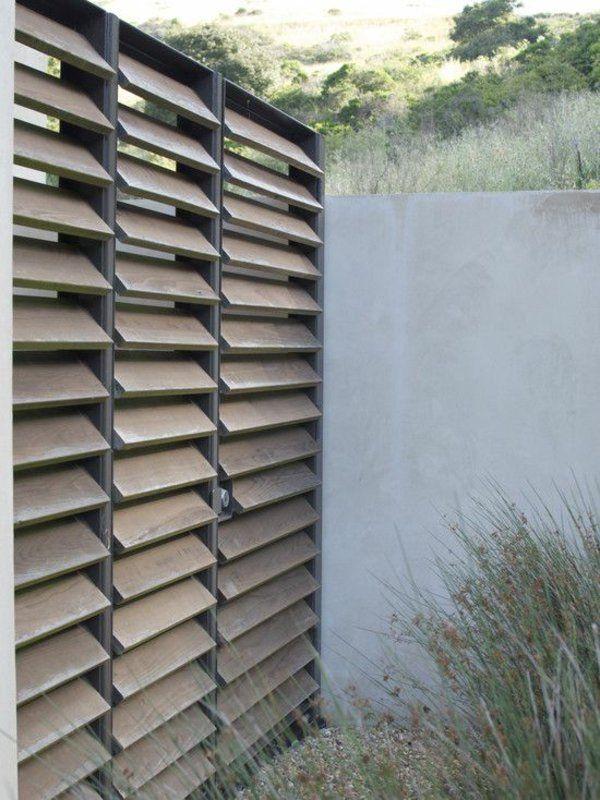 gartenzaun aus holz und beton Sichtschutz Pinterest - gartenzaun metall anthrazit