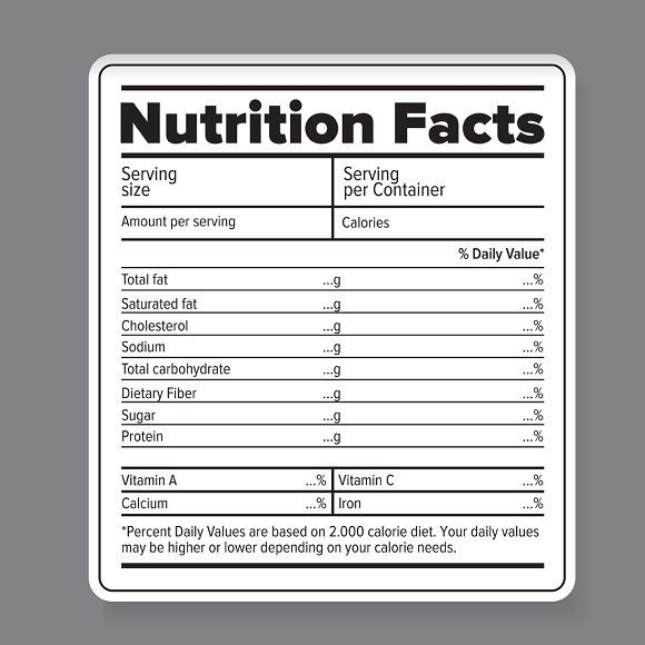 Nutrition Facts Vector Label Nutrition Facts Label Food Label