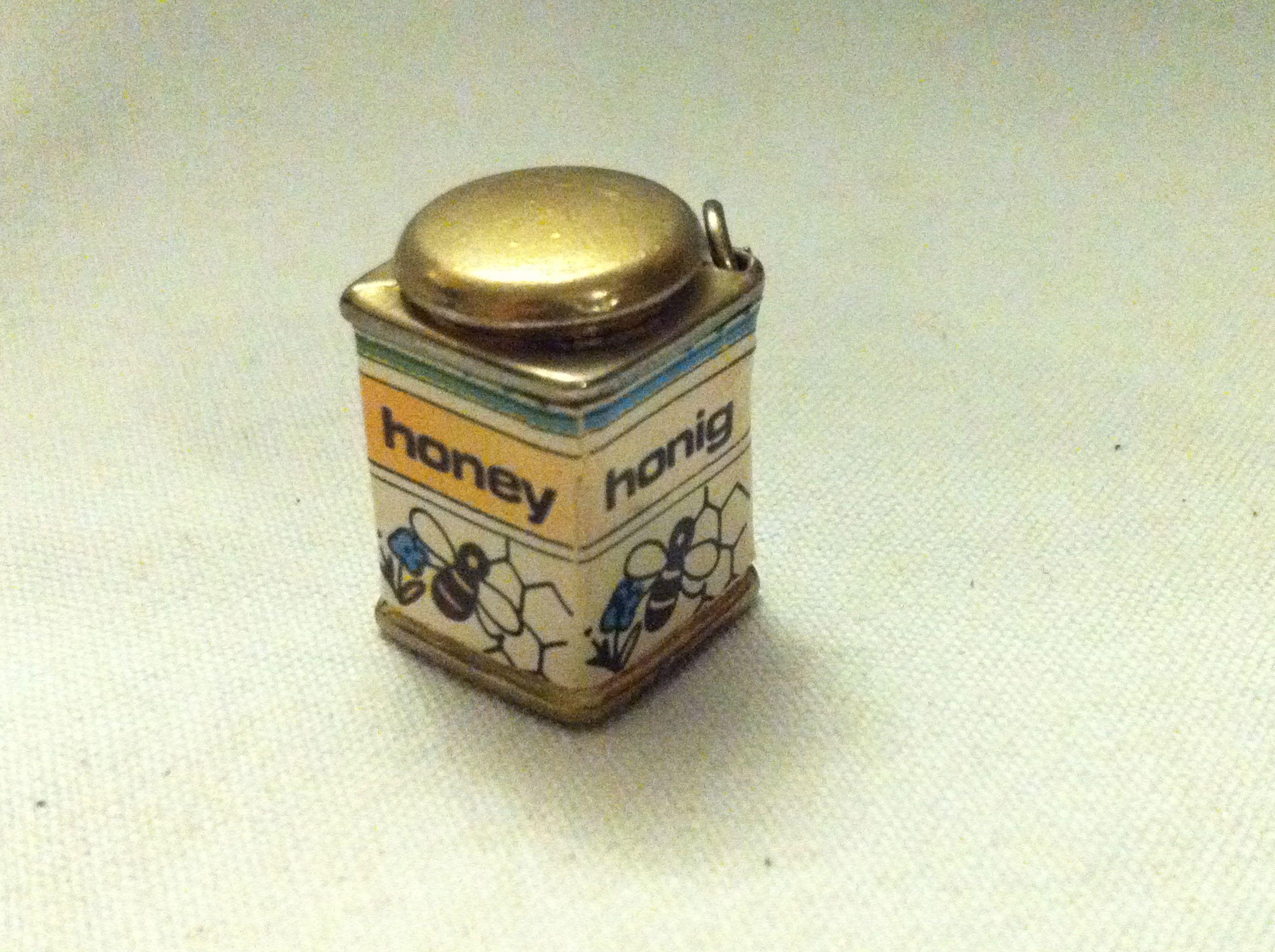Antike Puppenstuben Accessoires Honig Dose Deko Objekt Miniatur