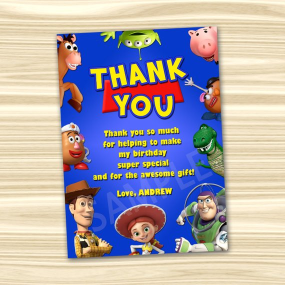 Toy Story Thank You Card Toy Story Thanks Diy Toy Story Birthday Party Toy Story Printable D Toy Story Birthday Party Toy Story Birthday Birthday Thank You